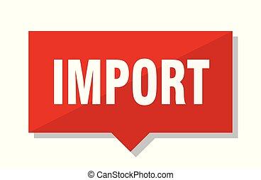 importation, étiquette, rouges