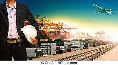 importation, bateau, trains, fonctionnement, logistique, transport, exportation, homme, , cargaison
