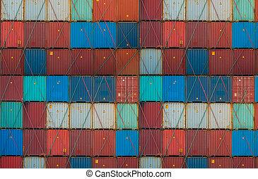 importation, concept, /, logistique, récipient, exportation, expédition