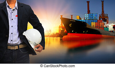 importation, contre, vaisseau, bateau, chargement, transport, port, exportation, récipient, fret expédition, usage, lumière, yard, matin, cargaison, beau
