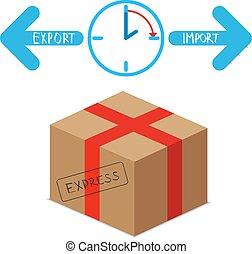 importation, expres, exportation, paquet