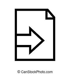 importation, fichier, icône