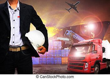 importation, fonctionnement, expédition, homme, fret, port, cargaison