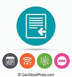 importation, icon., document, symbole., fichier
