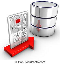 importation, schéma, base données