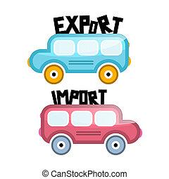 importation, vecteur, exportation, autobus, icônes