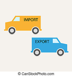 importation, vecteur, exportation, transport
