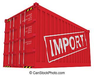 importazione, contenitore, carico