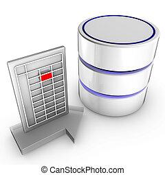 importazione, dati, database