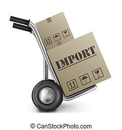 importazione, scatola cartone, autocarro mano