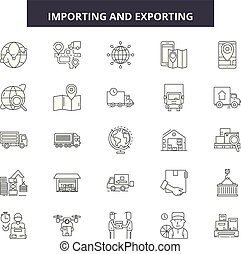Importing and exporting line icons, signs, vector set, linear concept, outline illustration