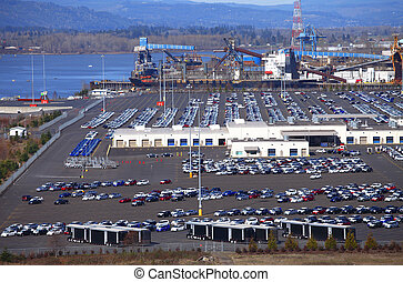 Imports. - Large vehicle parking lot with imports of Toyota...