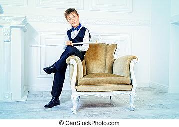 imposing boy - Handsome nine year old boy in elegant suit...