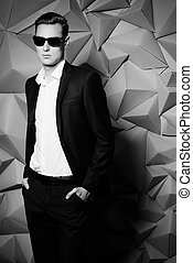 imposing man - Fashion shot of a handsome young man in...