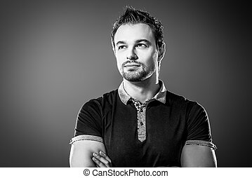 imposing - Portrait of a muscular handsome young man. Men's...