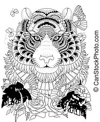 Imposing tiger adult coloring page - Imposing tiger with...