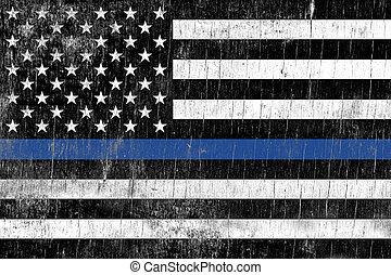 imposizione legge, polizia, sostegno, bandiera