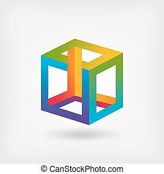 impossibile, simbolo, cubo, multicolor, astratto