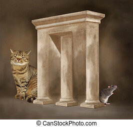 Impossible arch with cat and rat - The cat and rat are...