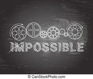 Impossible Blackboard - Hand drawn impossible sign and gear...
