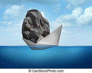 Impossible concept as a paper boat transporting a heavy rock boulder as a business symbol for overachieving and the power of determined potential to do things that are unbelievable.