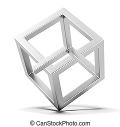 Impossible Cube   isolated on a white background. 3d render