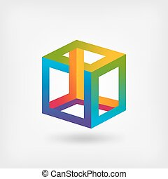 impossible cube multicolor abstract symbol