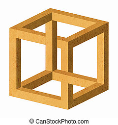 Impossible cube - There is an impossible cube. White...