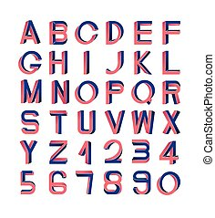 Impossible font set, including numerals. Red and blue ...
