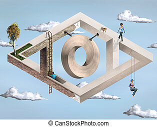 Impossible Geometric Architecture - Original illustration of...