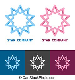 Impossible Geometric Star Logo Set. Colored, Black And White, Gradient Logotype Variants. Vector