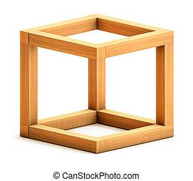 Impossible geometrical figure - Optical illusion. Impossible...