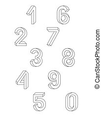 Impossible Geometry numbers. Set of vector numbers...