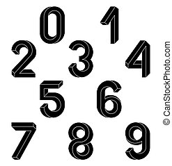 Impossible Geometry numbers. Impossible shape font. Low poly...