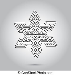 Impossible geometry symbols vector on grey background. ...
