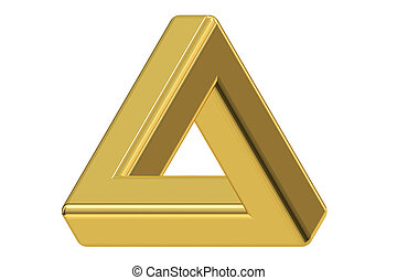 Impossible gold triangle optical illusion, 3D rendering -...