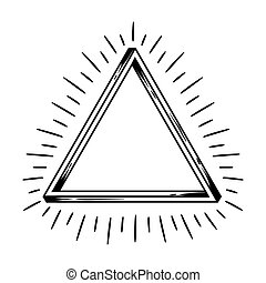 Impossible infinite triangle figure. Sacred pyramid hand...