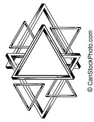 Impossible infinite triangles background. Sacred pyramid...