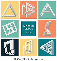 Impossible objects. Set 3. Cartoon vector illustration
