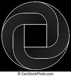 Impossible rounded square icon. White vector optical illusion shape on black background.