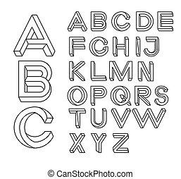 Impossible shape font. Memphis style letters.