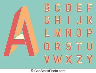Impossible shape font. Memphis style letters. Colored...