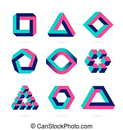 Impossible shapes, optical illusion objects.