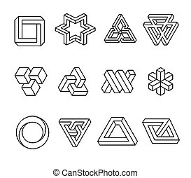 Impossible shapes, optical illusion objects. Vector illustration isolated on white background.