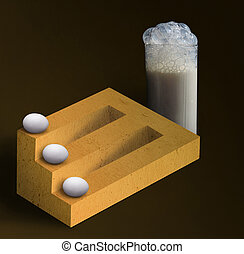Impossible timber with eggs and a glass of milk - Three eggs...