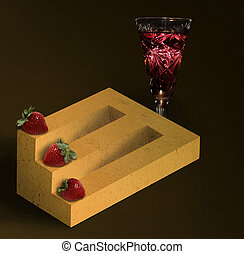 Impossible timber with strawberries and a glass of wine -...