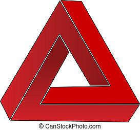 Impossible triangle; optical illusion