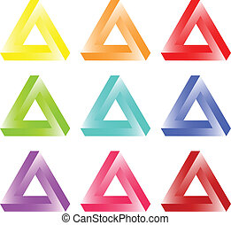 Impossible Triangles Of Tribar Optical Illusion Colored Set