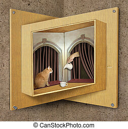 Impossible window and cat - The ginger cat is sitting on the...