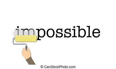 Impossible word gets the ''in'' removed to make it possible.